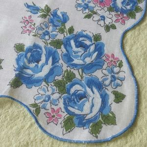 Blue Rose Scalloped Edge Kerchief